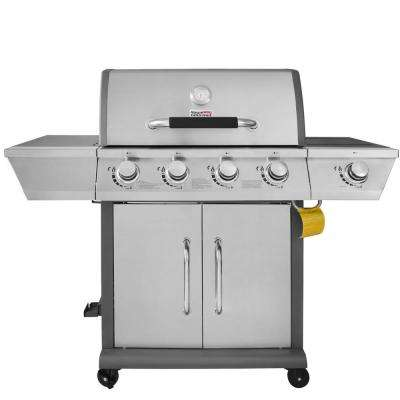 Deluxe 4-Burner Patio Propane Gas Grill in Stainless Steel with Fixed Side Tables