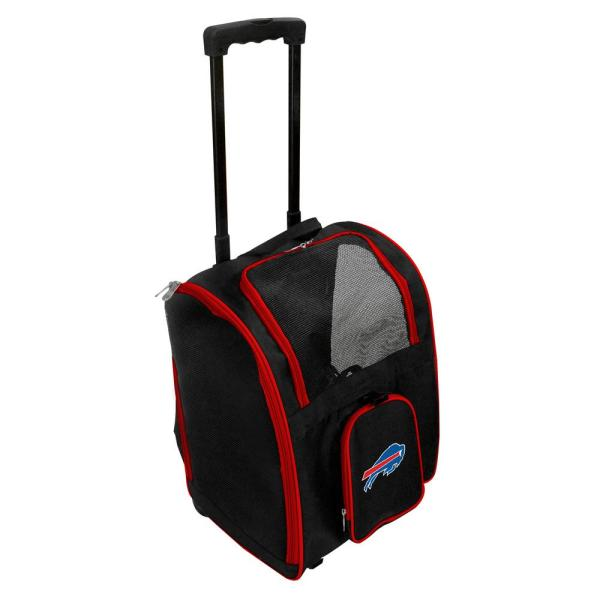 Denco NFL Buffalo Bills Pet Carrier Premium Bag with wheels in Red