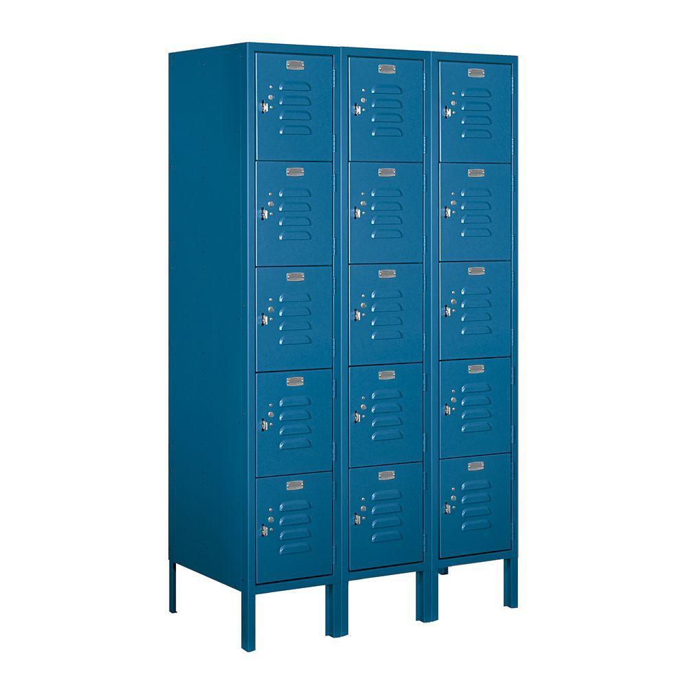 Salsbury Industries 65000 Series 36 in. W x 66 in. H x 18 in. D Five Tier Box Style Metal Locker Assembled in Blue