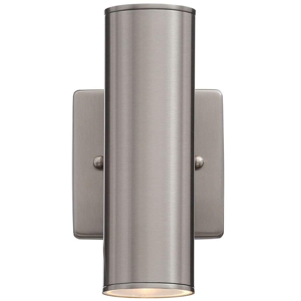 Hampton Bay Riga 2 Light Stainless Steel Outdoor Wall Mount Cylinder Fixture