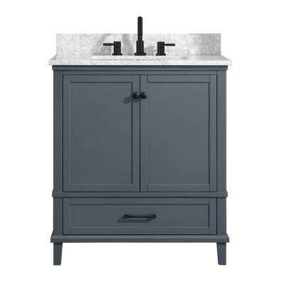 Merryfield 31 in. W x 22 in. D Bath Vanity in Dark Blue-Gray with Marble Vanity Top in Carrara White with White Basin