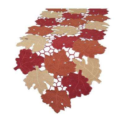 13 in. x 70 in. Cutwork Leaves with Poly-Suede Collection Table Runner