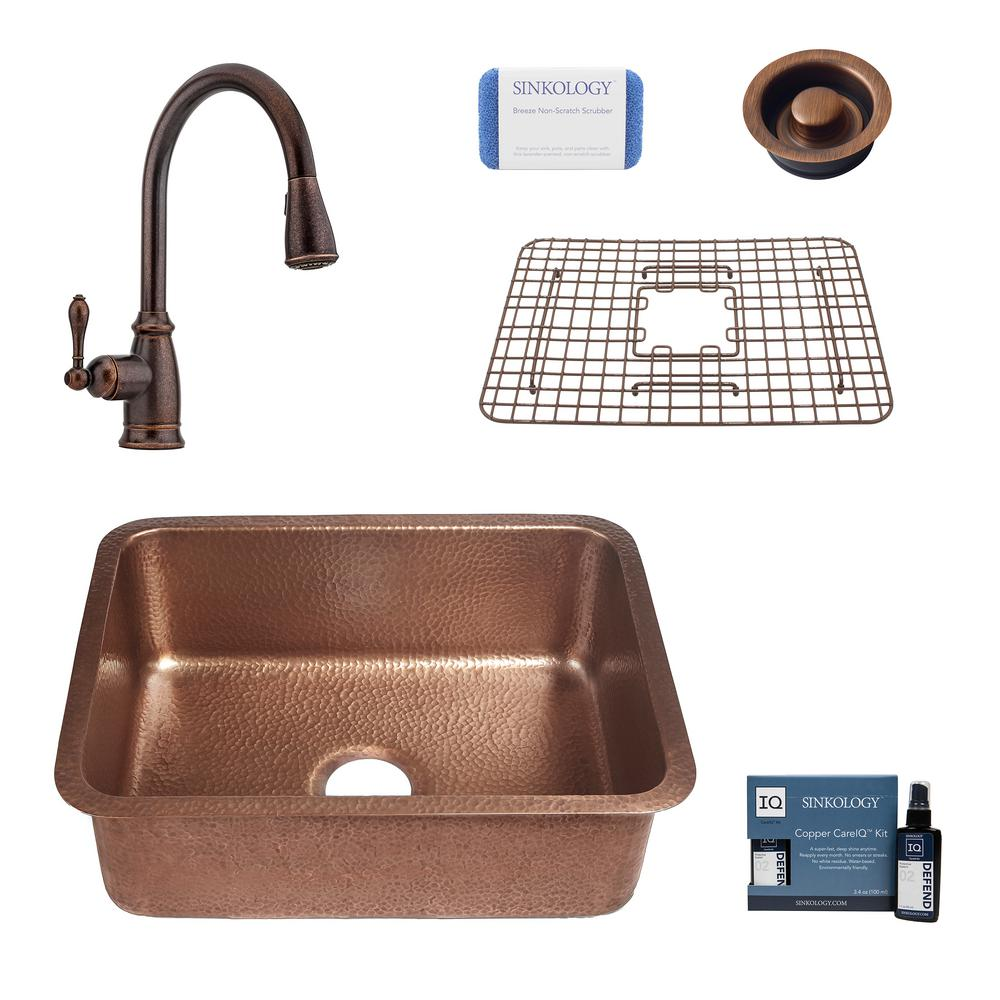 SINKOLOGY Renoir All-In-One Undermount Copper 23 in. Single Bowl Copper Kitchen Sink with Pfister Bronze Faucet and Drain