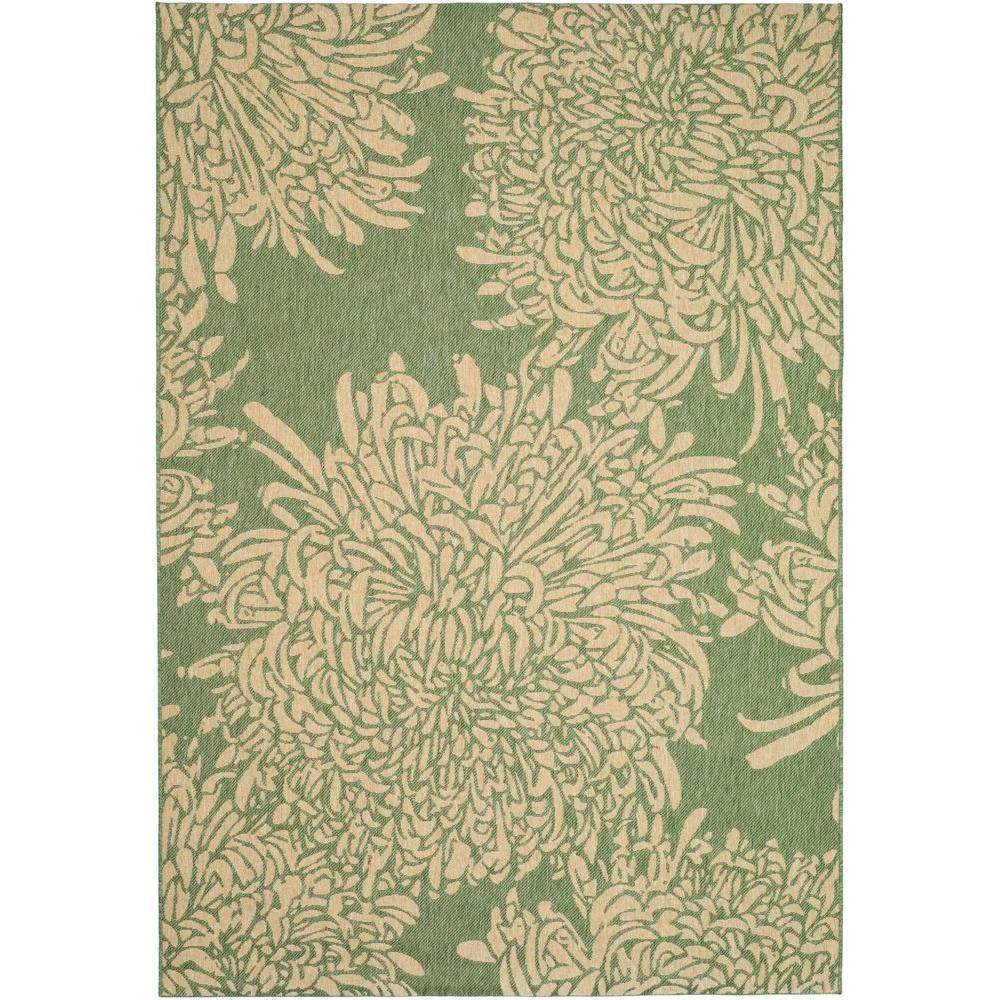Martha Stewart Living Chrysanthemum Green/Beige 6 ft. 7 in. x 9 ft. 6 in. Area Rug