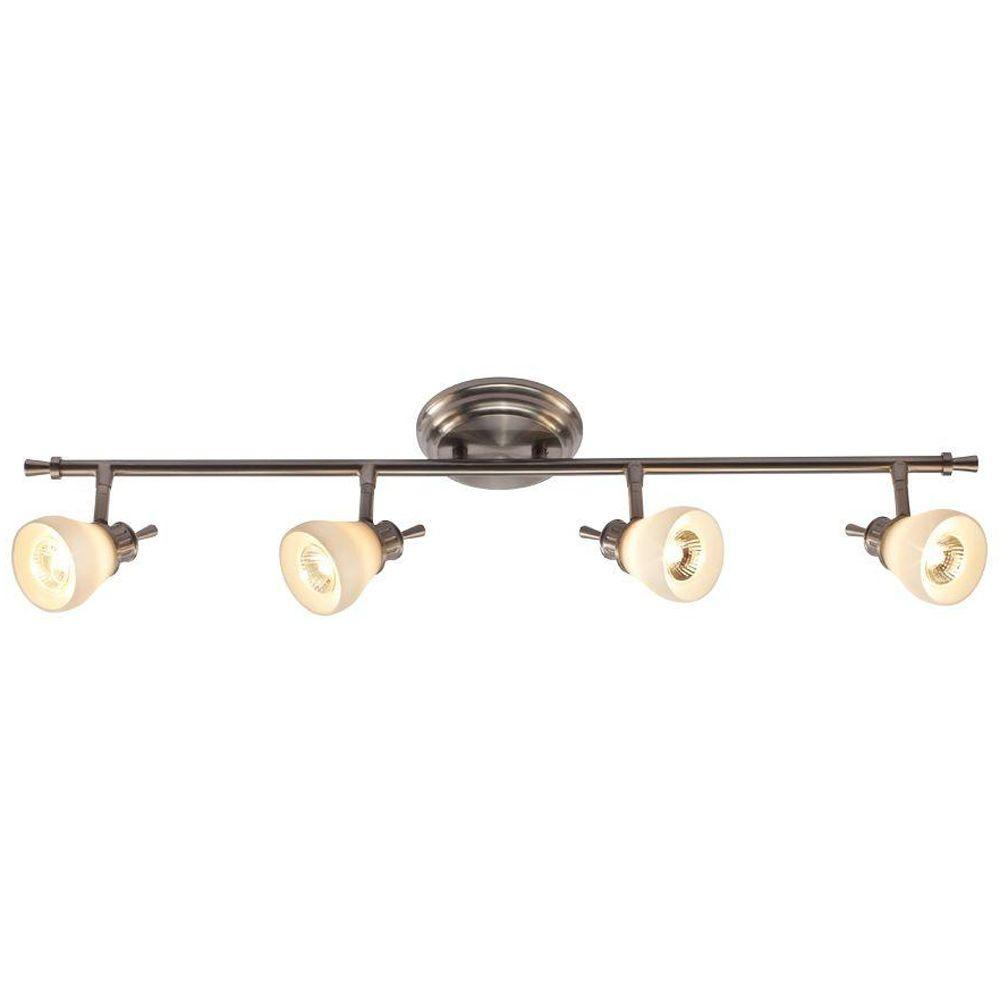 Hampton Bay 4 Light Satin Nickel Directional Ceiling Or Wall Track Lighting Fixture