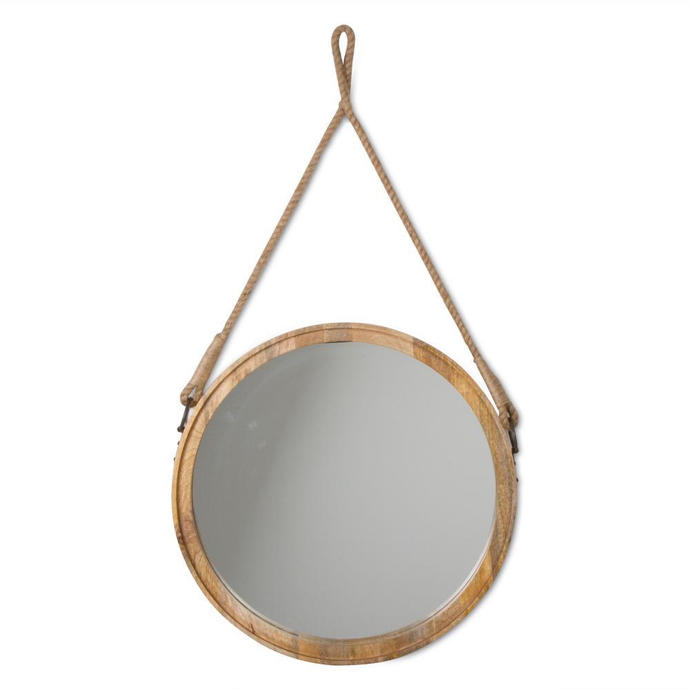 Oval Mango Wood Decorative Hanging Mirror