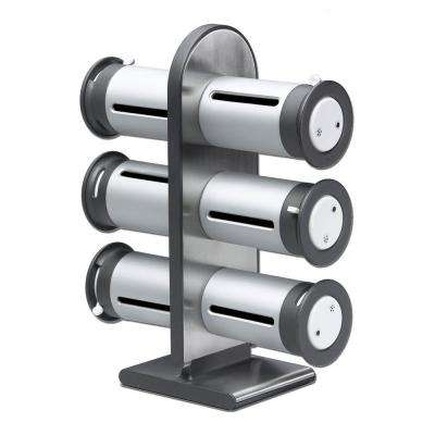 Zero Gravity 6-Canister Countertop Magnetic Spice Stand in Metallic/Gray