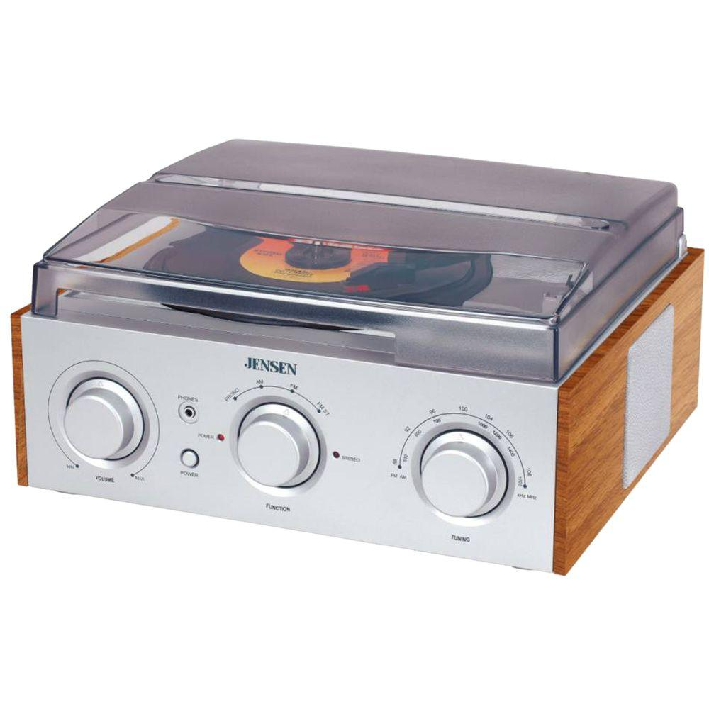 3-Speed Turntable with AM/FM Receiver and Stereo Speakers
