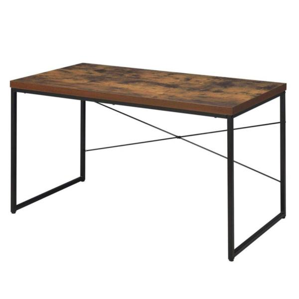 22 in. Rectangular Black/Brown Writing Desk with Open Storage