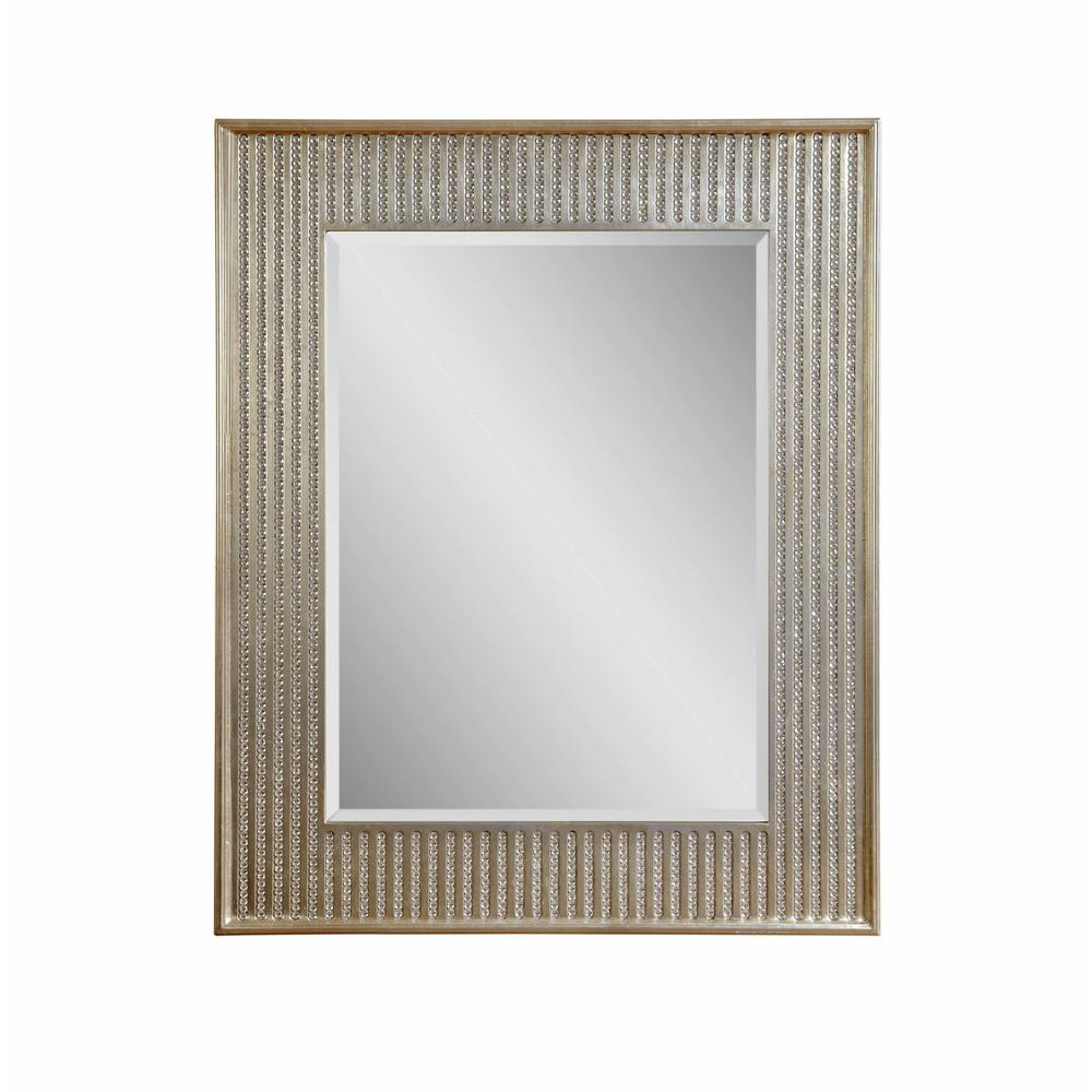 BASSETT MIRROR COMPANY Bling Decorative Wall Mirror The Bling wall mirror from our Hollywood Glam collection features flashy beaded flutes and a champagne finish. This piece's classic rectangular frame enables it to dress up and living area. Beautiful in any room setting.