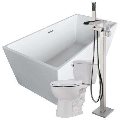 Fjord 66.8 in. Acrylic Flatbottom Non-Whirlpool Bathtub in White with Union Faucet and Cavalier 1.28 GPF Toilet