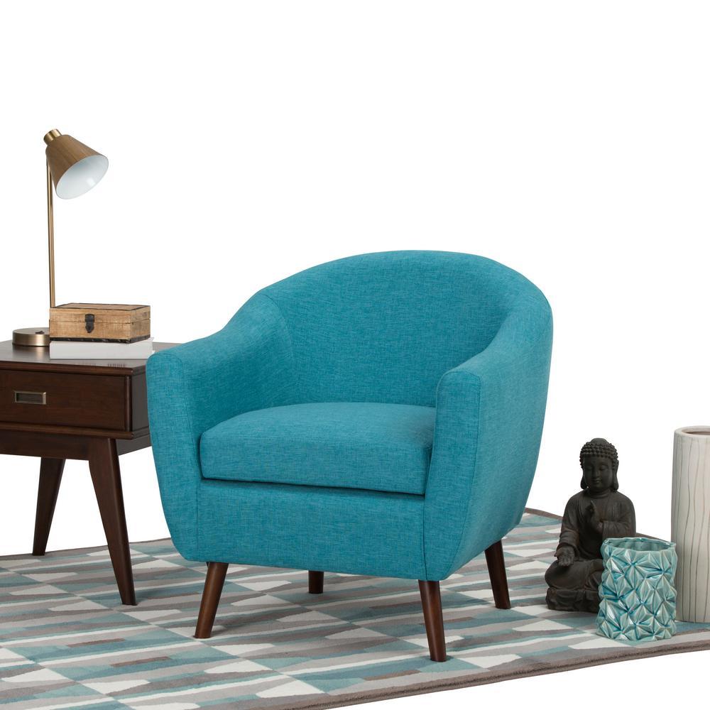 Simpli Home Roundstone Aqua Blue Fabric Arm Chair