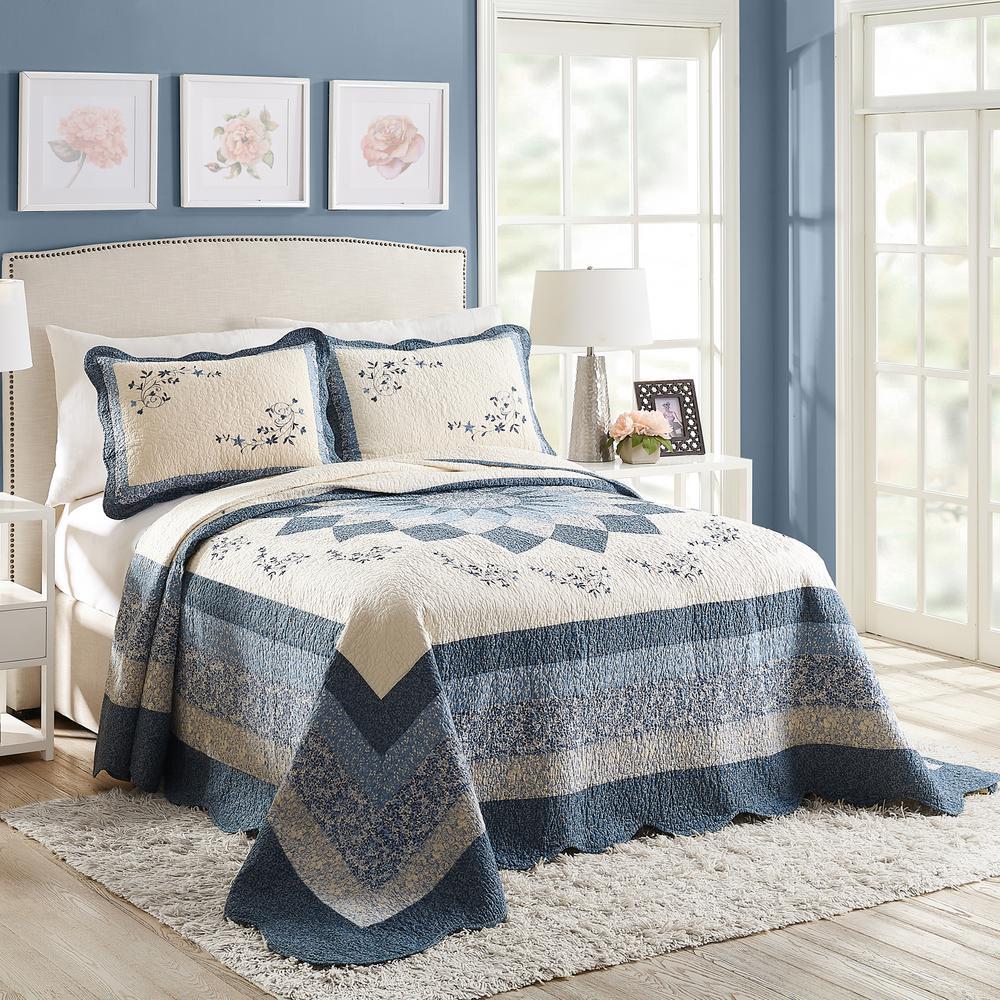 Charlotte Blue Queen Cotton Bedspread