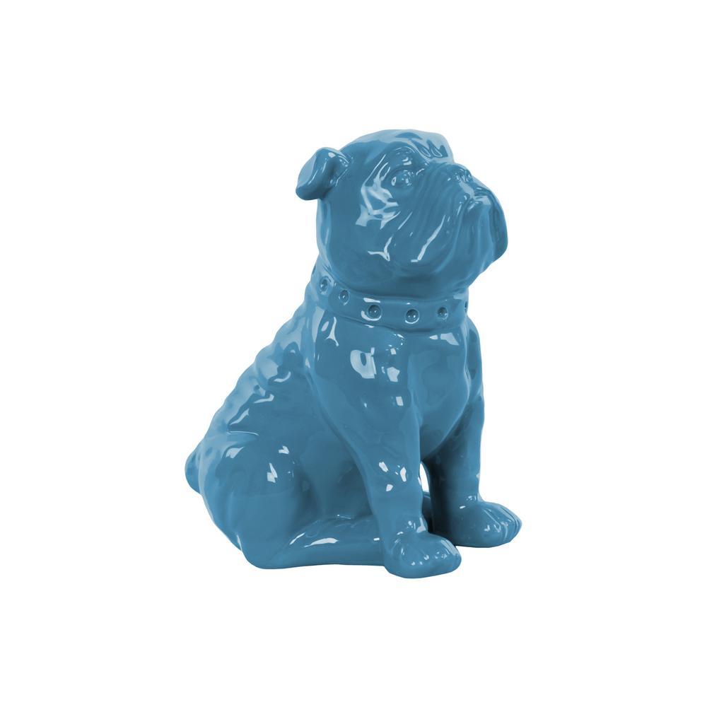 8 in. H Dog Decorative Figurine in Blue Gloss Finish