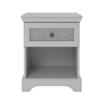 Hillside Dove Gray Nightstand with Fabric Insert