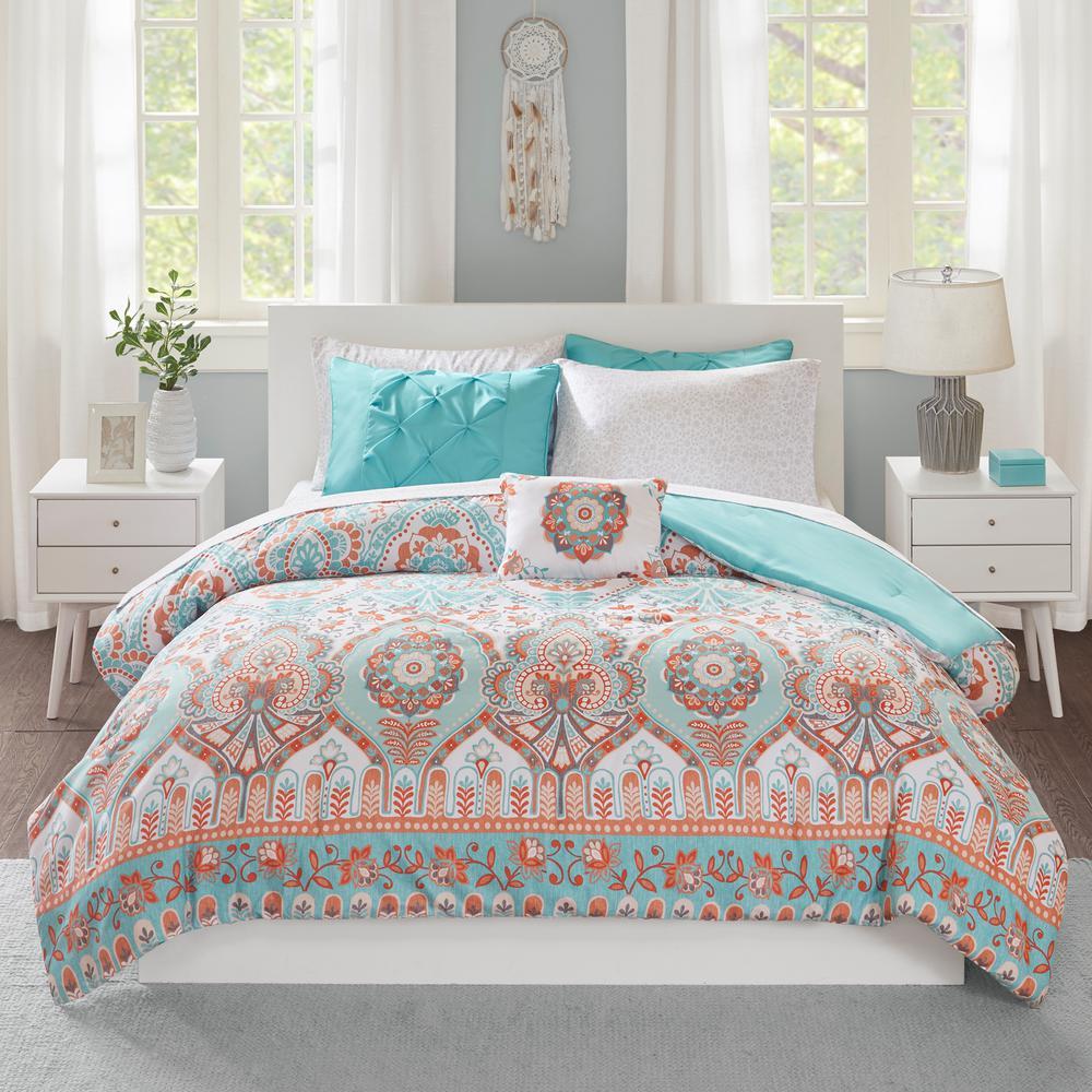 Avery 8-Piece Aqua Queen Comforter Set