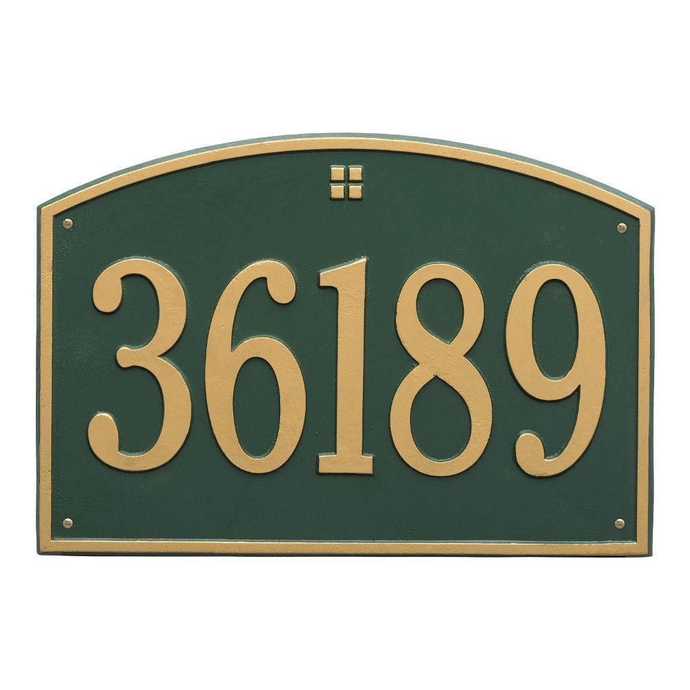 Cape Charles Rectangular Estate Green/Gold Wall 1-Line Address Plaque
