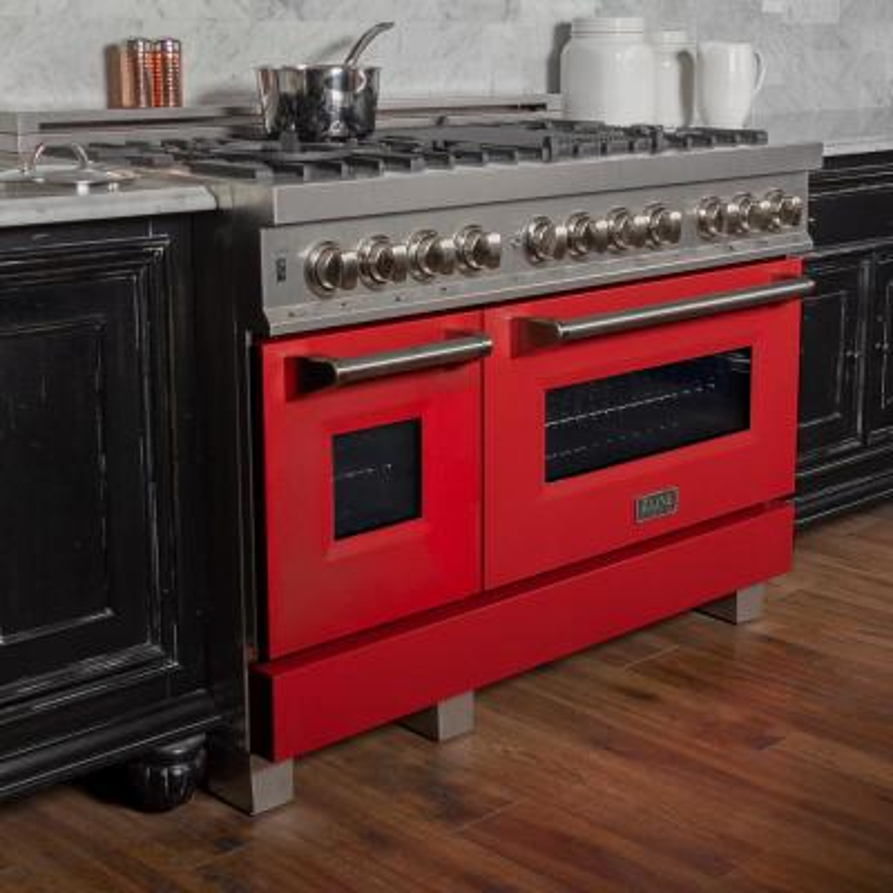 ZLINE 48 in. Professional Dual Fuel Range in DuraSnow® Stainless Steel with Red Matte Door (RAS-RM-48)