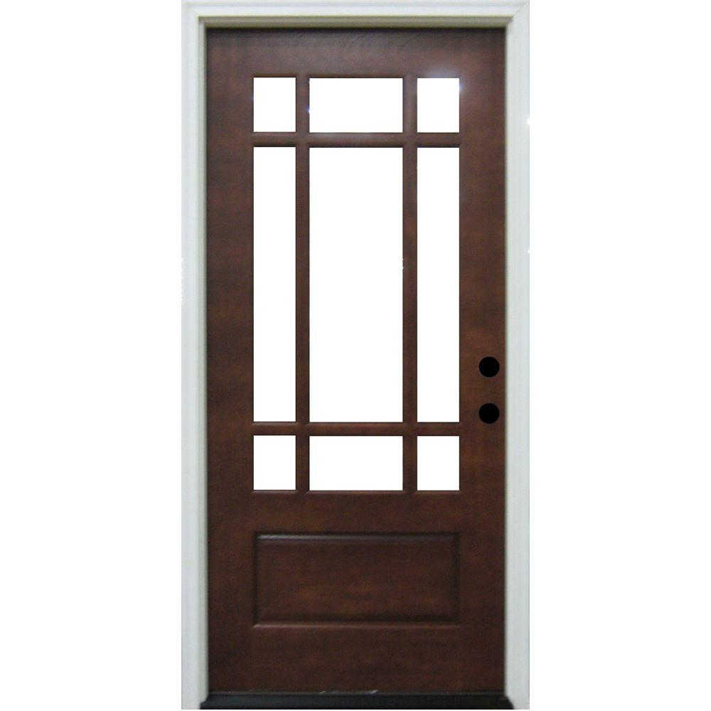 Steves & Sons Craftsman 9 Lite Prefinished Mahogany Wood Prehung Front Door-DISCONTINUED