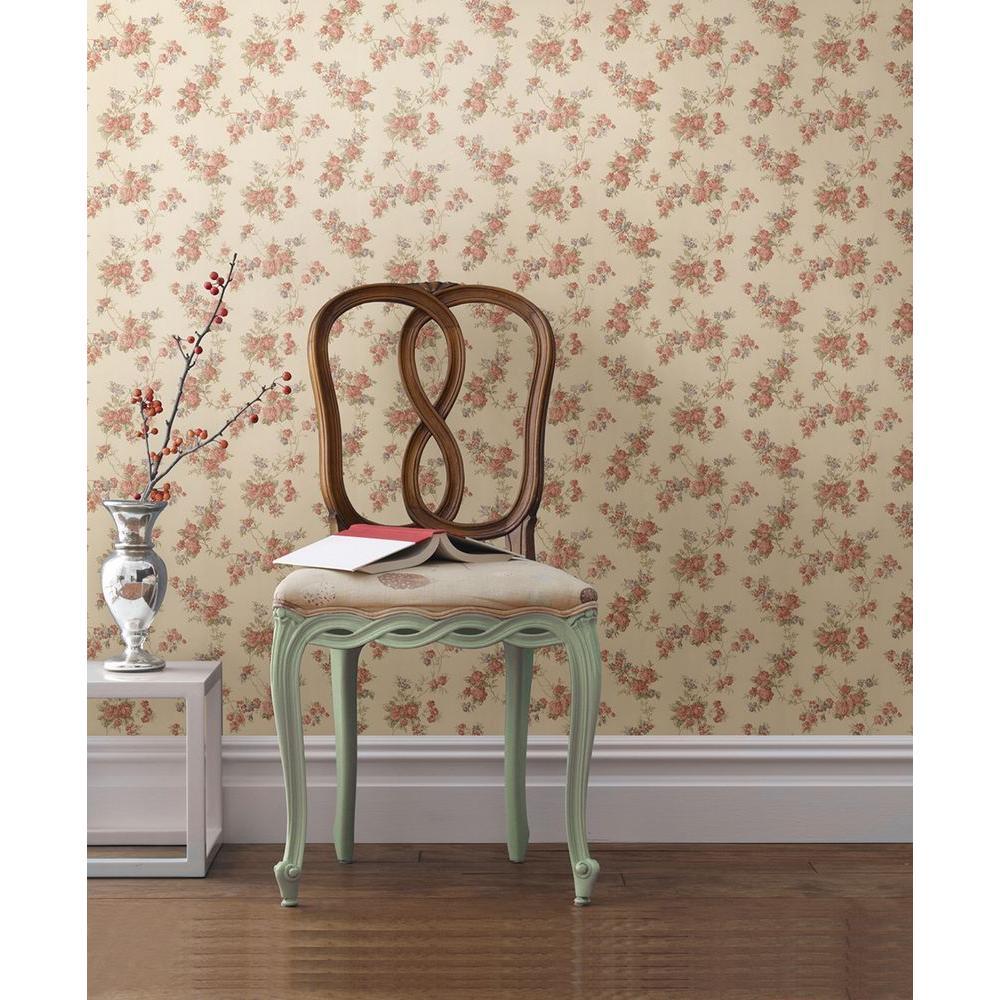 Tiffany Peach Satin Floral Trail Wallpaper