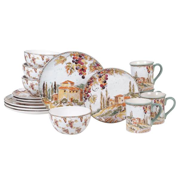 Tuscan Breeze 16-Piece Patterned Multi-Colored Earthenware Dinnerware Set (Service for 4)