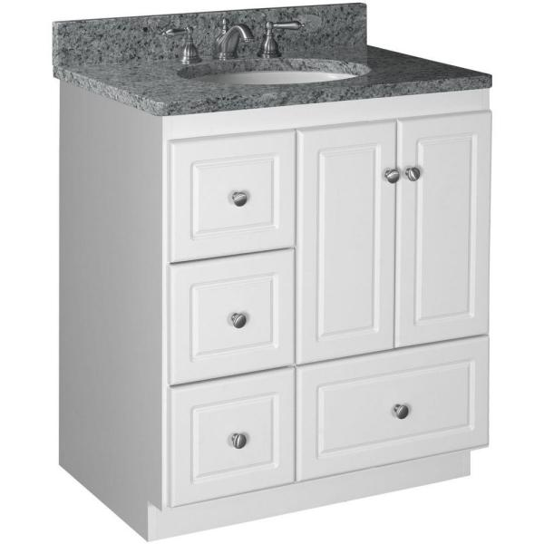 Ultraline 30 in. W x 21 in. D x 34.5 in. H Vanity with Left Drawers Cabinet Only in Satin White