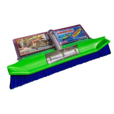 AquaDynamic 18 in. Pro Series Poly Pool Brush Patented Design Sticks to Walls for Faster Cleaning
