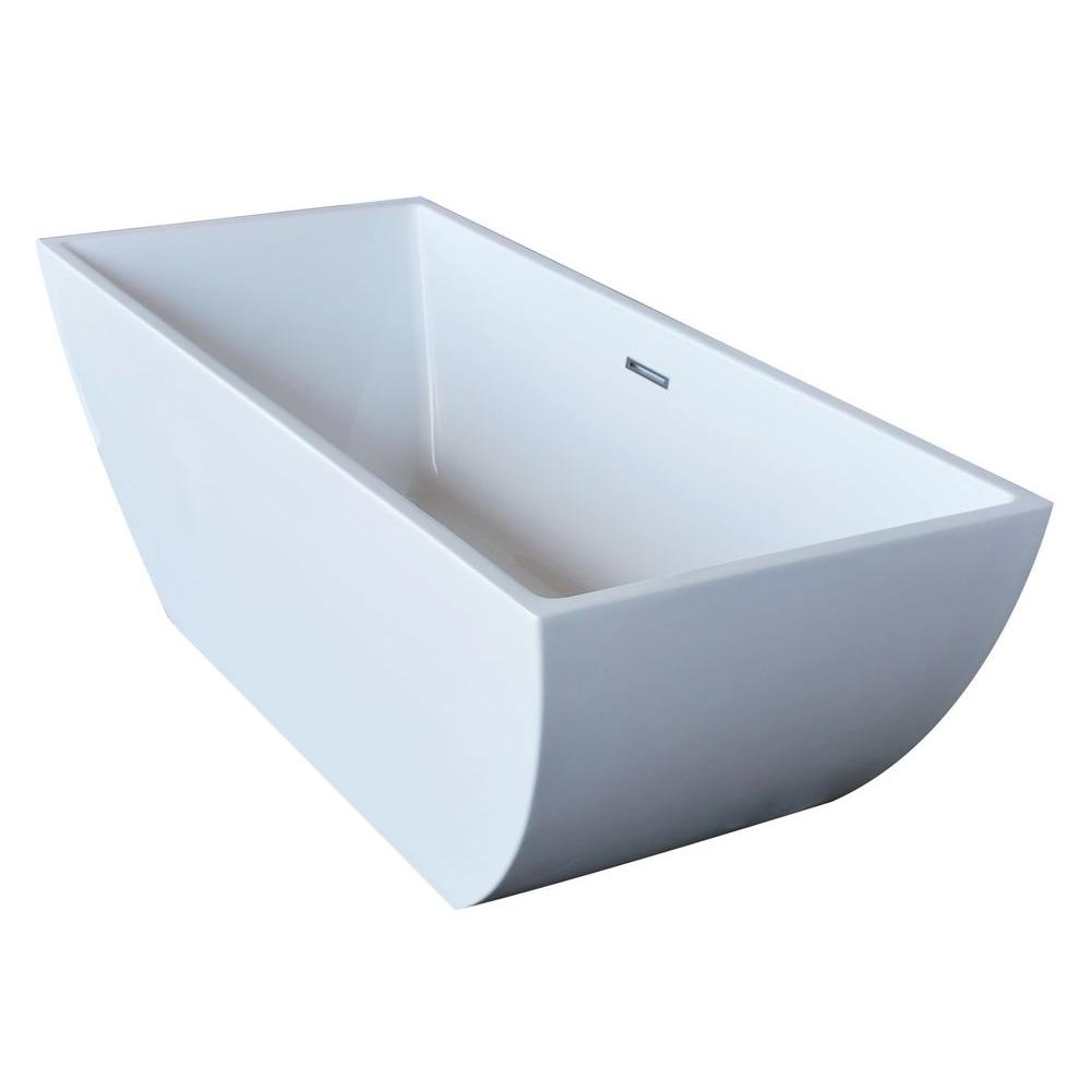 Universal Tubs PureCut 5.6 ft. Acrylic Center Drain Rectangular Bathtub in White