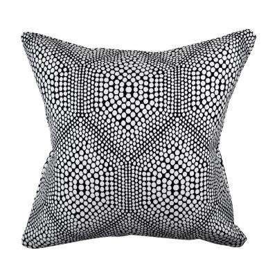 Modern Black Polka Dot Woven Throw Pillow