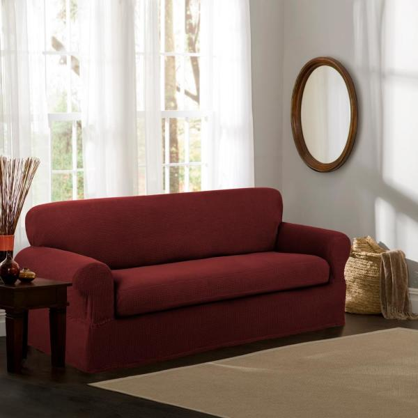 Reeves Stretch Red 2-Piece Sofa Slipcover 4100801jRED - The Home Depot