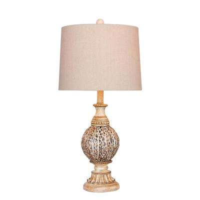 27 in. Antique White Moroccan Branch Urn Metal Table Lamp