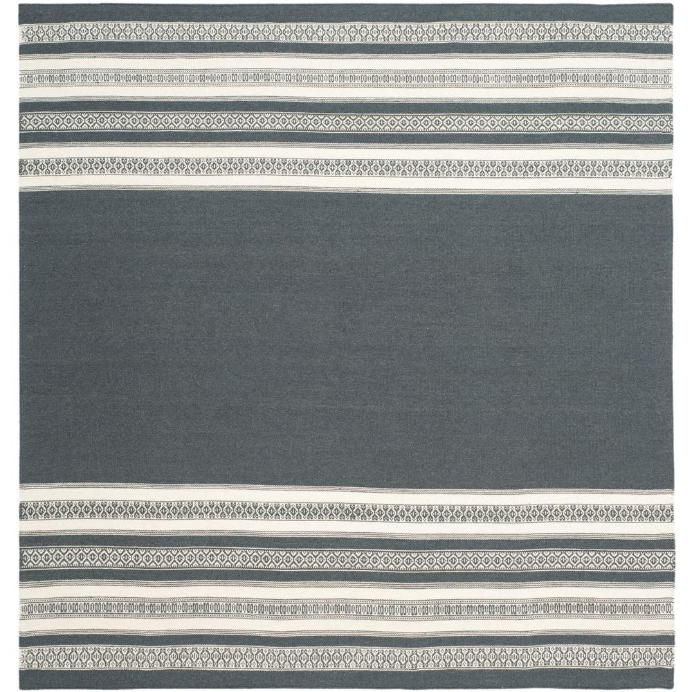 Dhurries Dark Grey 6 ft. x 6 ft. Square Area Rug