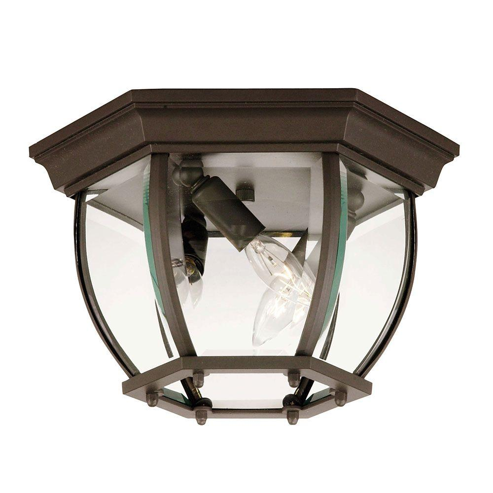 3-Light Bronze Outdoor Flushmount with Clear Beveled Glass