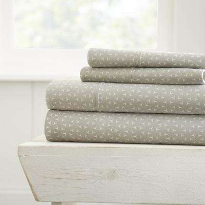 Mercy Patterned 4-Piece Gray Queen Performance Bed Sheet Set