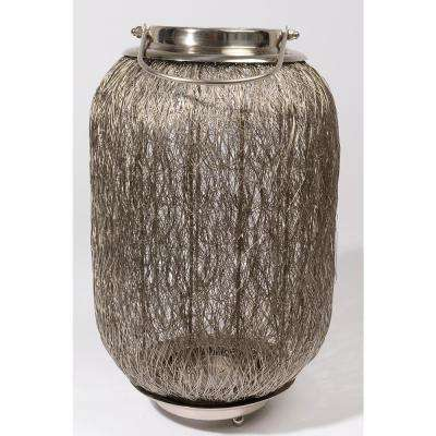 23 in. Beach Day Contemporary Chic Large Wire Woven Hurricane Pillar Candle Holder