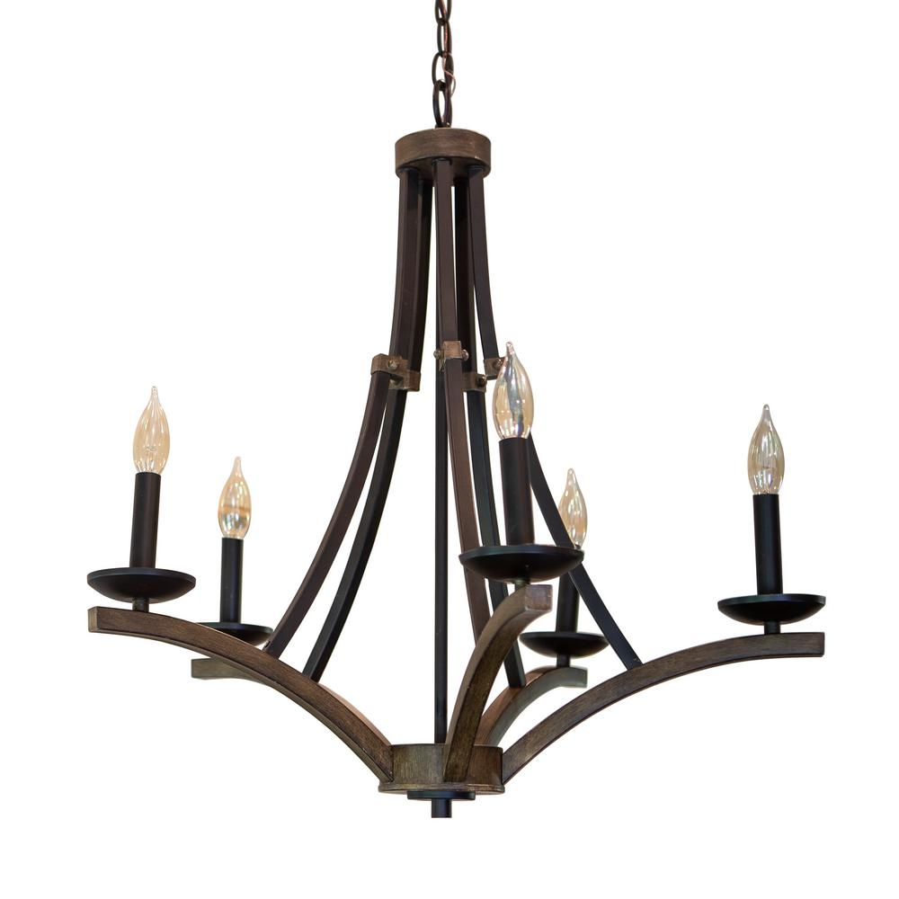 Decor Therapy Drake 5 Light Brown Chandelier Ch1838 The Home Depot