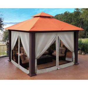 Paragon 12 ft. x 12 ft. Sunbrella Top Gazebo with Privacy Curtains and Mosquito Netting by