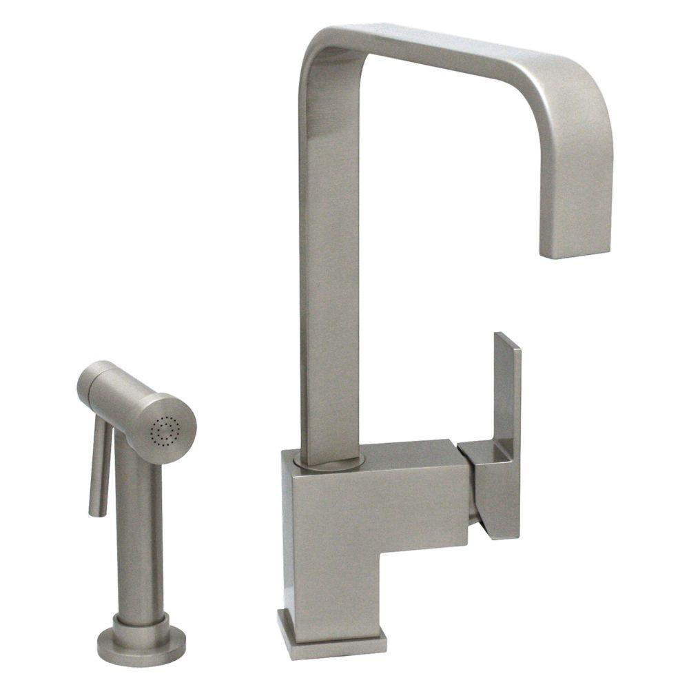 Whitehaus Collection Jem Collection Single Handle Standard Kitchen Faucet  With Side Sprayer In Brushed Nickel