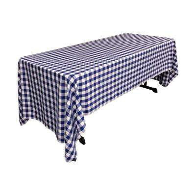 60 in. x 144 in. White and Royal Blue Polyester Gingham Checkered Rectangular Tablecloth