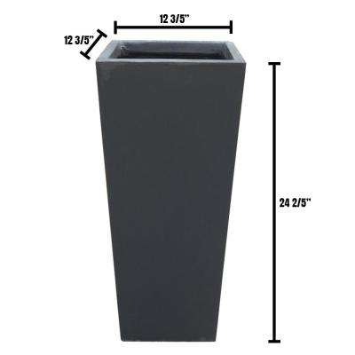 13 in. x 13 in. x 24 in. Large Charcoal Lightweight Concrete Rectangle Modern Tapered Planter