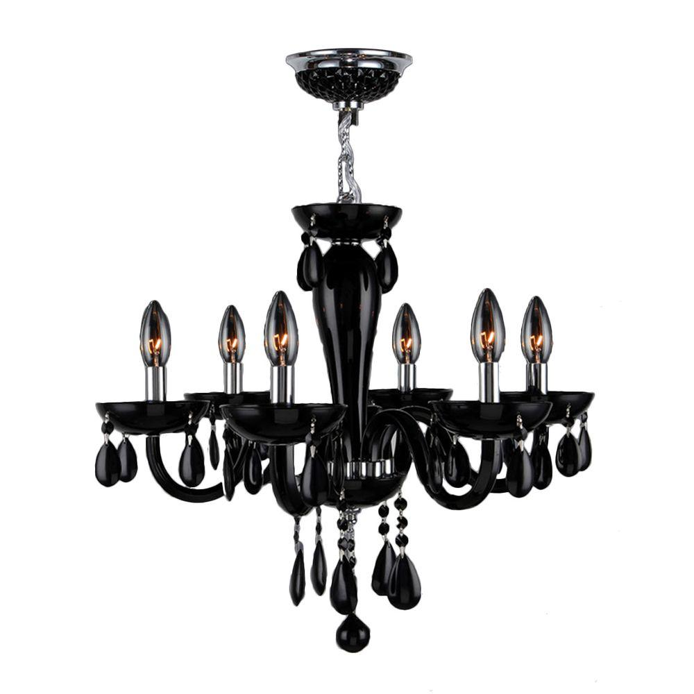 Gatsby Collection 6-Light Chrome Chandelier with Black Crystal Hand-Blown Glass