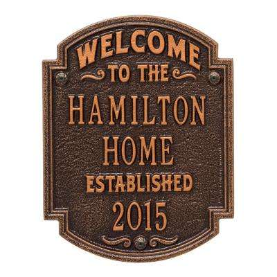Heritage Welcome Square Standard Wall 3-Line Anniversary Personalized Plaque in Antique Copper