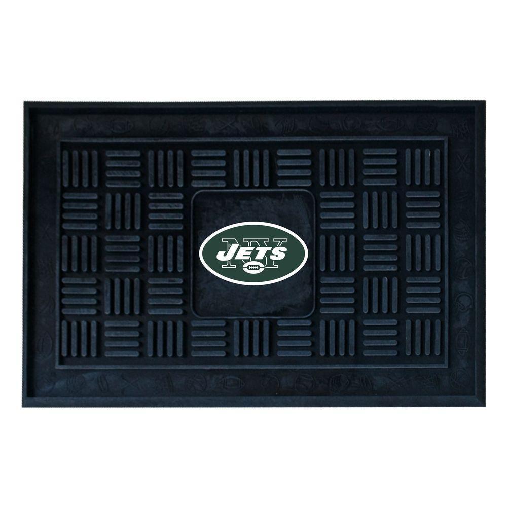 NFL New York Jets Black 19 in. x 30 in. Vinyl Outdoor Door Mat