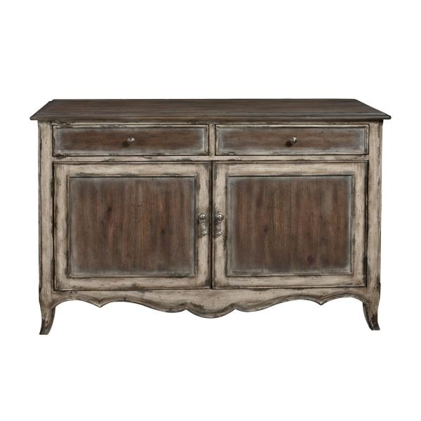 Accentrics Home Country Inspired Brown Distressed 2-Door Accent Storage Console