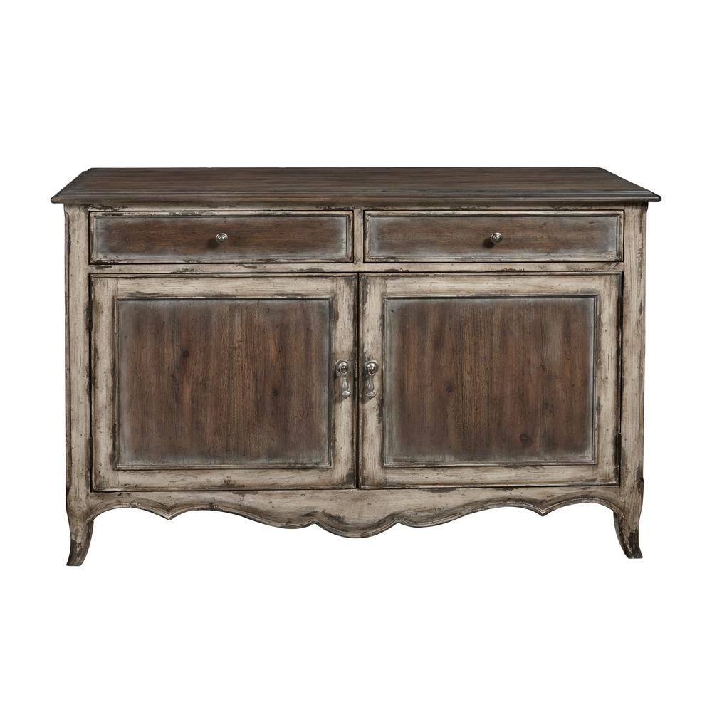 Country Inspired Brown Distressed 2-Door Accent Storage Console