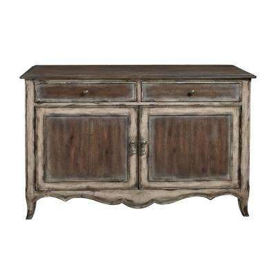 Superbe Country Inspired Brown Distressed 2 Door Accent Storage Console