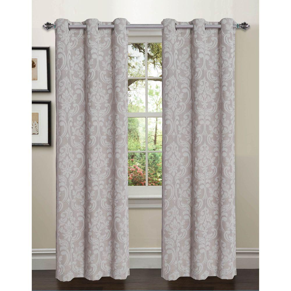 Semi-Opaque Elinor Linen Blend Jacquard 96 in. L Rod Pocket Curtain