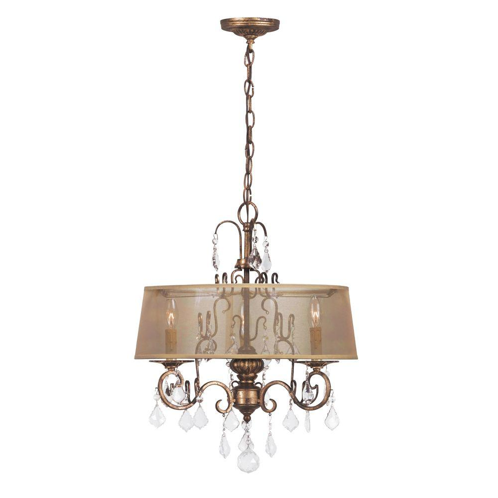 World Imports Belle Marie Collection 3-Light Antique Gold Chandelier with  Sheer Drum Shade - World Imports Belle Marie Collection 3-Light Antique Gold Chandelier