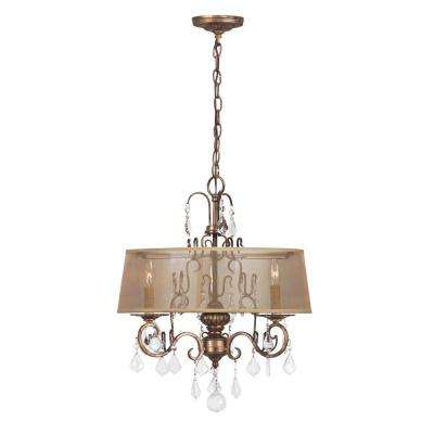 Belle Marie Collection 3-Light Antique Gold Chandelier with Sheer Drum Shade