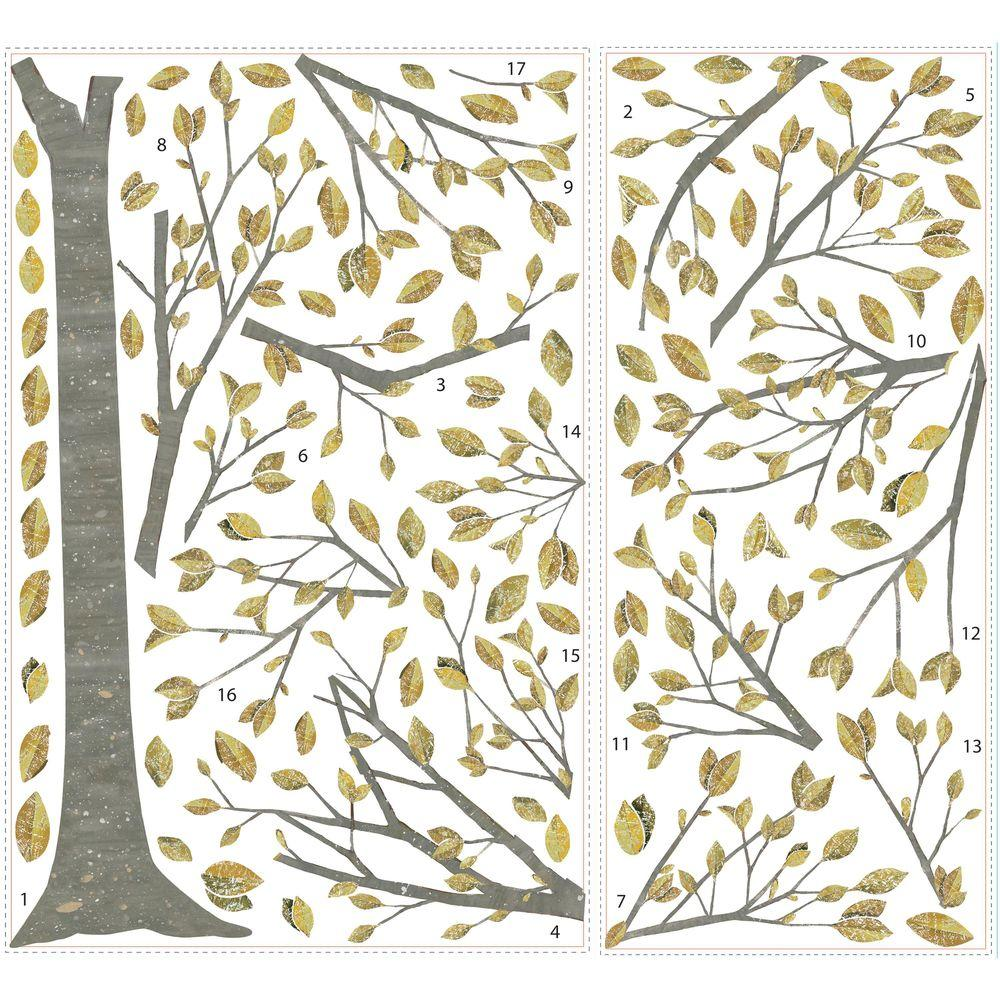 RoomMates 2.5 in. x 27 in. Golden Leaf Tree 71-Piece Peel and Stick Giant Wall Decal